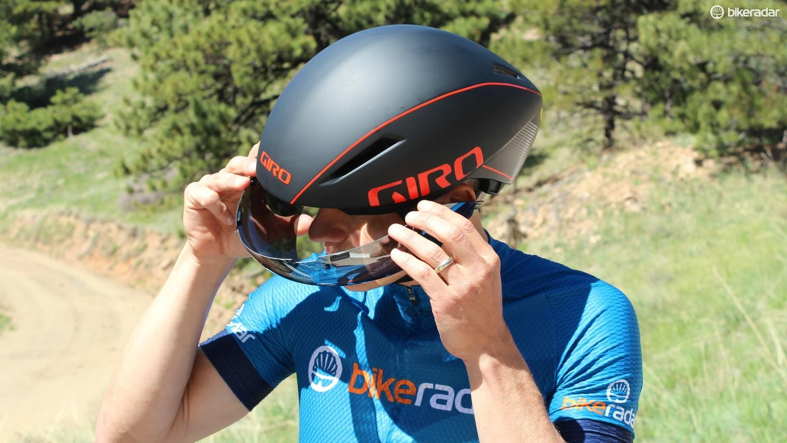 The Zeiss shield pops off for easy on/off of the helmet
