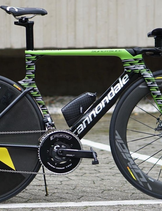 Cannondale-Drapac's Alberto Bettiol is remarkable in his use of mechanical disc brakes on a Tour de France time trial bike