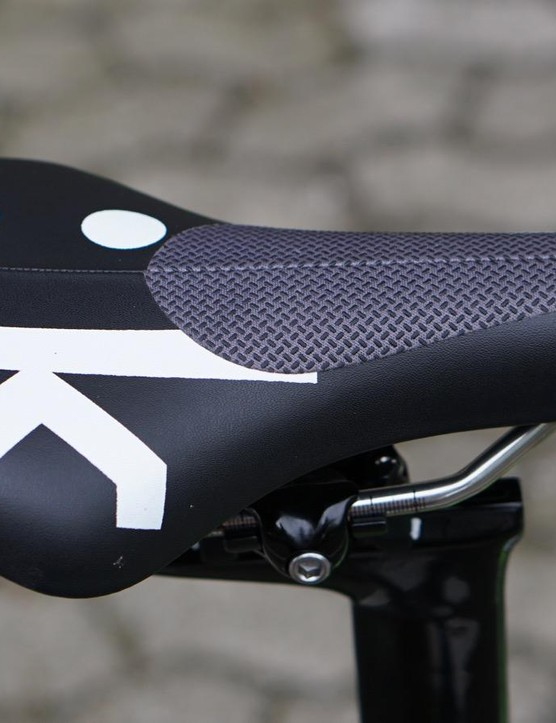 Although not as extreme as Tony Martin's grip tape, Fizik offers traction patches on its Ares TT saddle