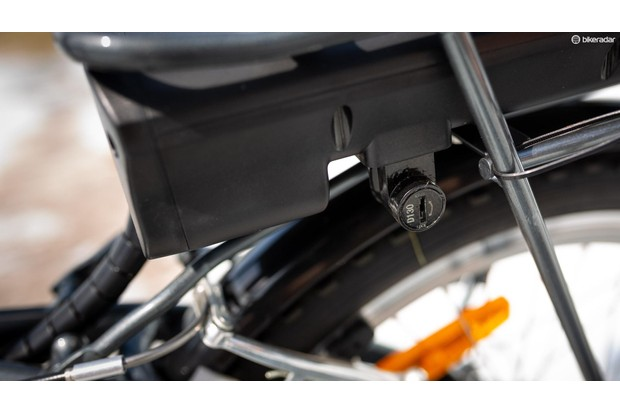 The battery can be locked to the bike with the included keys. The lock even has a barrel number so if you lose the keys they can be replaced