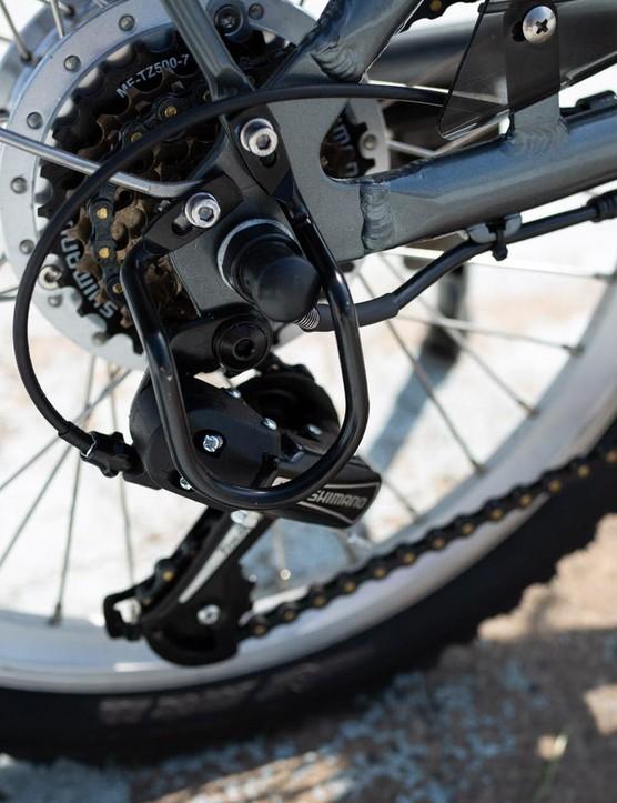 The bike sees a heavy duty derailleur protector