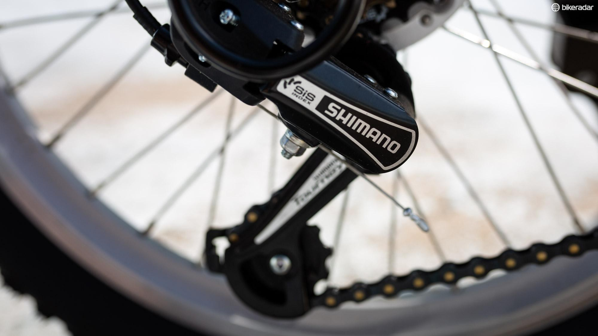It's a pleasant surprise to see Shimano branded components on a supermarket bike