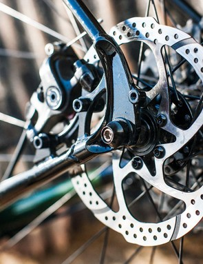 Slick TRP Spyre cable-operated disc brakes provide ample stopping power