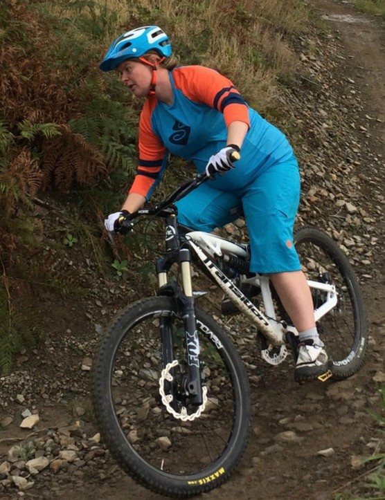 Experienced mountain biker and coach Ali Campbell kept riding on her familiar trails throughout her pregnancy