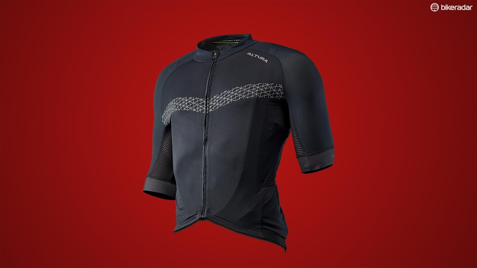 The jersey combines a tightly woven front panel with a more open mesh back