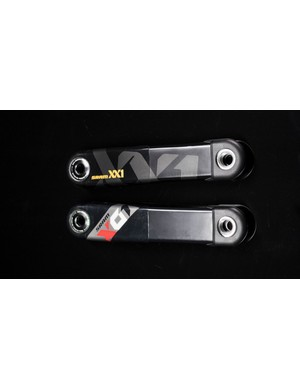 The XX1 crank is hollow to save weight, while the X01 crank has a foam core to improve strength