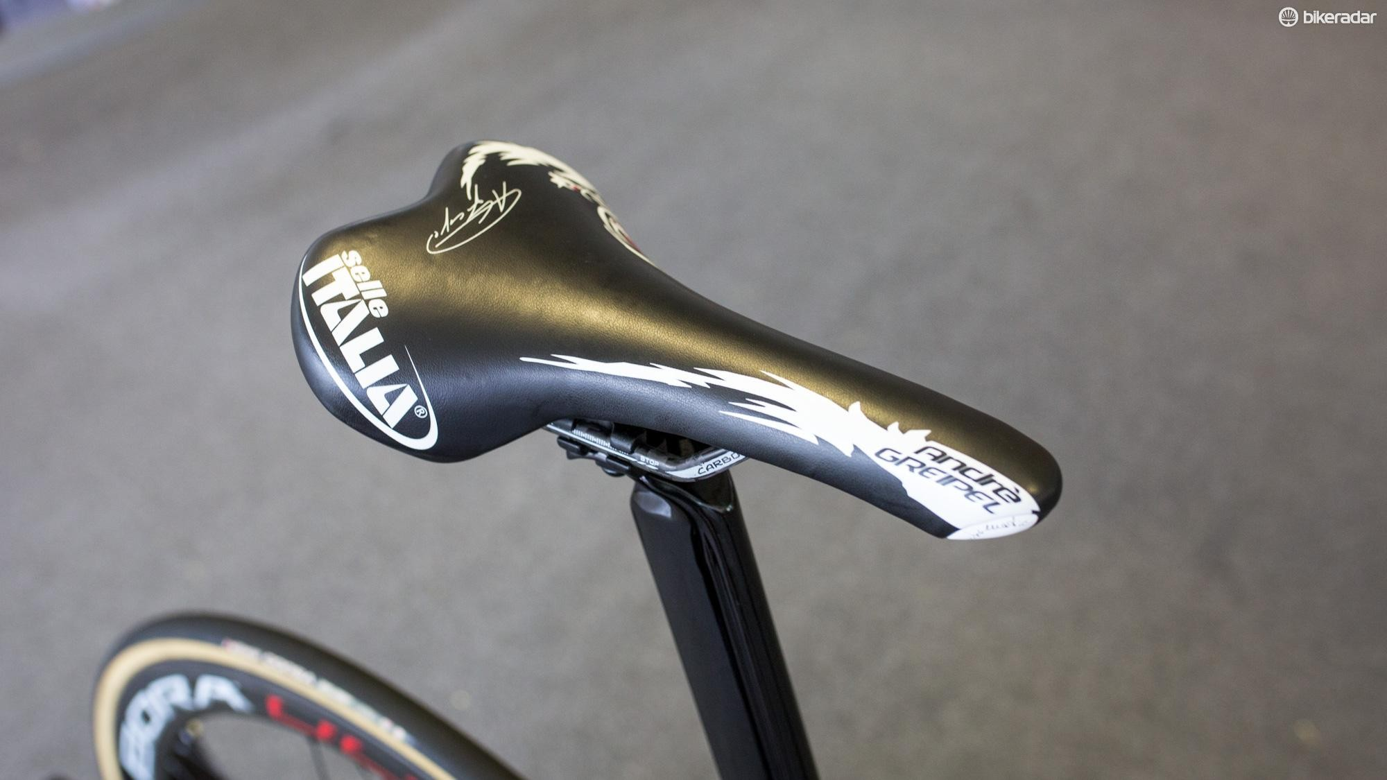 Greipel's Turbomatic saddle is decidedly old-school