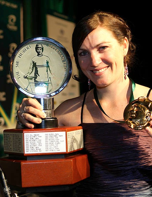 Anna Meares with the trophy and medal for Australian Cyclist of the Year