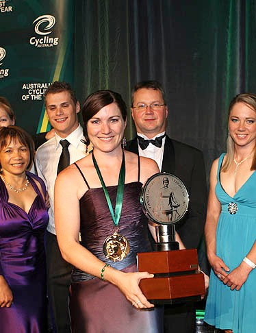 Anna Meares with her fellow track award winners