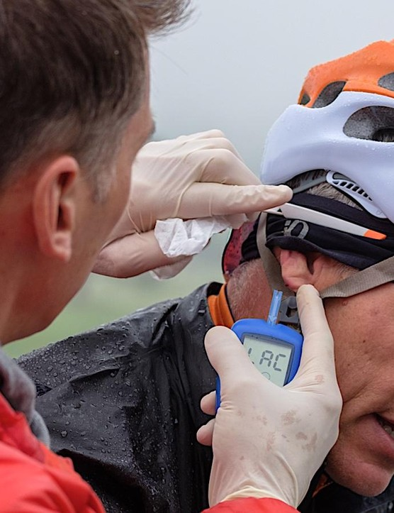 INSCYD founder Sebastian Weber tests my lactate after an effort. He prefers the ear to the finger because circulation is better and less likely to fluctuate based on grip or riding conditions