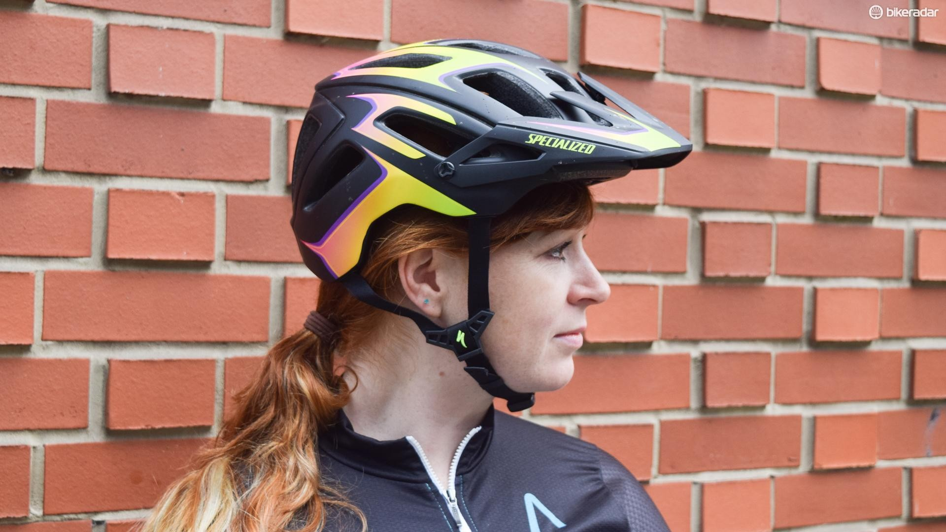 The Ambush Comp helmet from Specialized, with low coverage at the back for increased protection