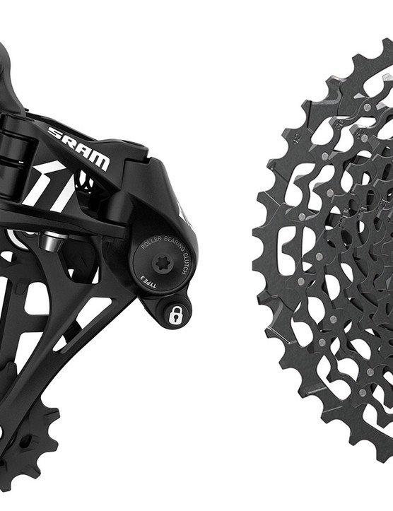 The clutch derailleur and massive 11-42t cassette of the Apex 1 group