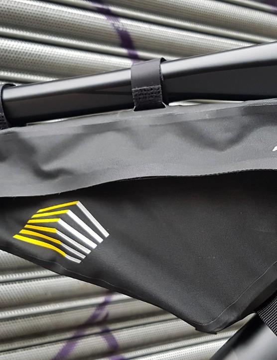 Apidura's frame bag is definitely weatherproof