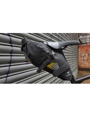 The saddle bag sits nicely behind the seat, with a fair amount of storage