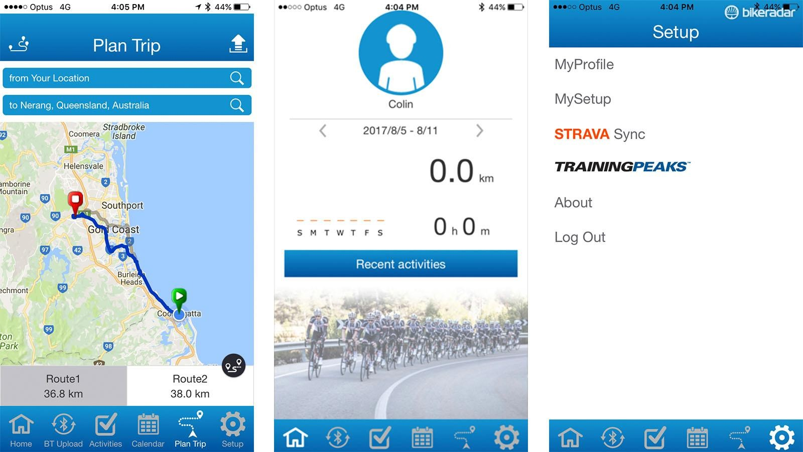 The app allows you to look at past workouts, sync over the air and plan routes