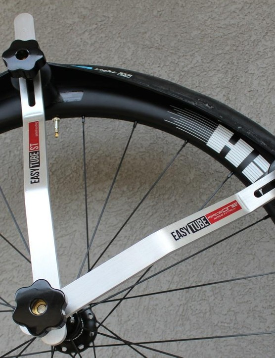 Designed for mounting tubulars, RaceOne's Easy Tube also works fairly well for mounting stubborn tubeless tires