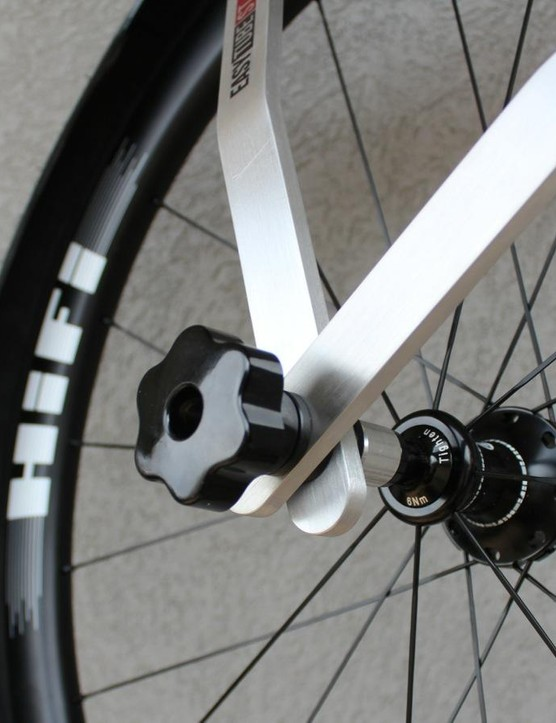 The EasyTube mounts at the hub with a skewer