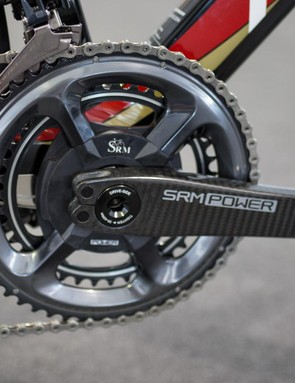 These are the first SRM Origin cranksets we've seen with Shimano Dura-Ace R9100 chainrings