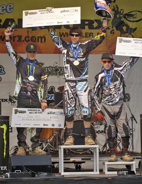 Men's Pro downhill podium.