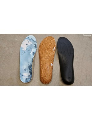 Sole inserts are made from recycled cork or recycled EVA — with the cork seemingly more vibration damping