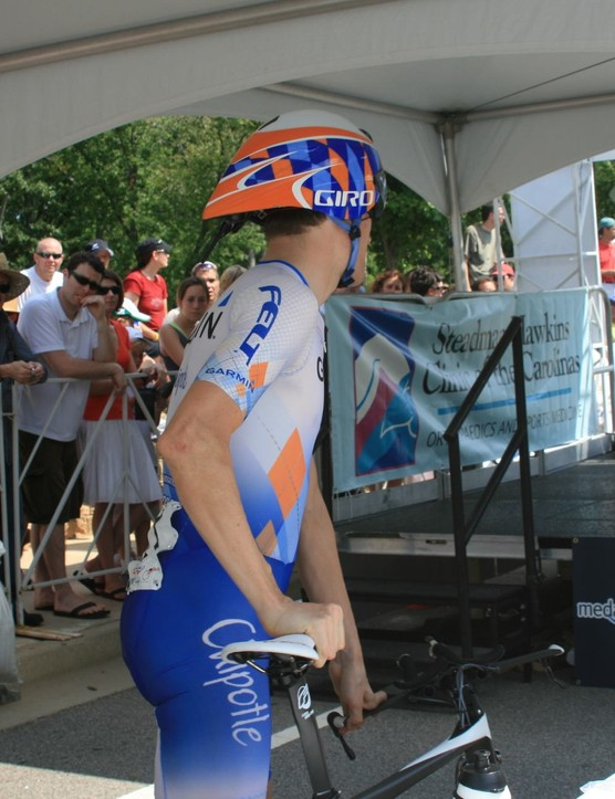 Zabriskie mounts the time trial ramp at the US Pro Championships in Greenville, South Carolina.
