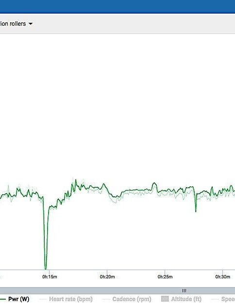 Shown in Stages Link, the Arion's measured power in dark green is overlaid with that from Pioneer and Garmin meters from the same ride