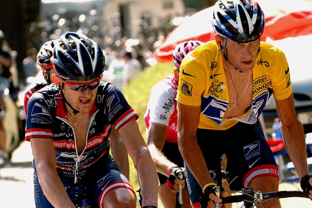 Armstrong and Landis are former team mates