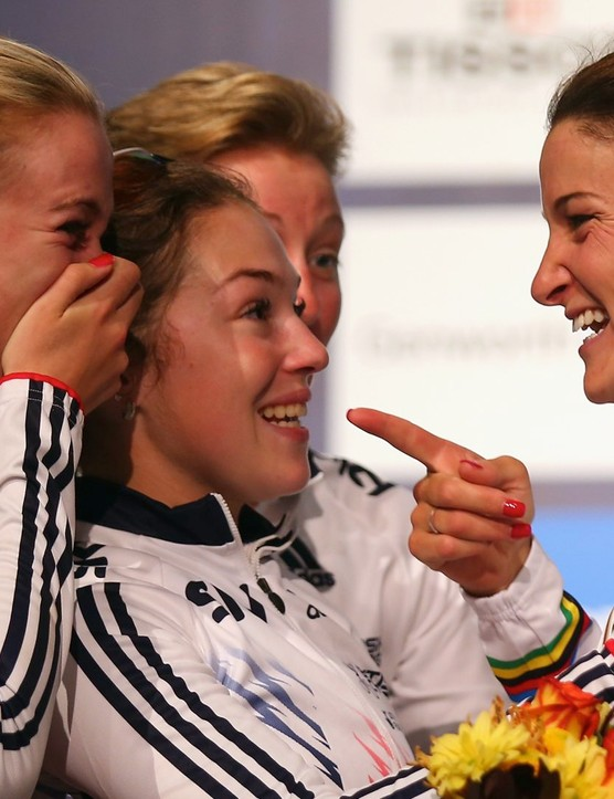 Armitstead being congratulated by her team mates as the 2015 World Championships