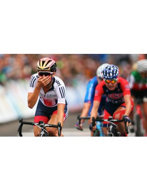 Armitstead at the moment she realised she'd taken the World Championships at Richmond, USA, 2015