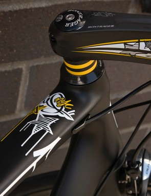 The black and yellow theme is consistent throughout the bike.