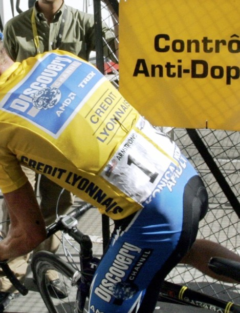 Lance Armstrong stops for a doping control on July 22, 2005, days before retiring from the pro peloton the first time.