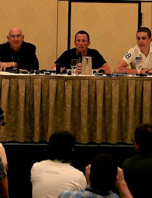 Don Catlin, Lance Armstrong and Taylor Phinney in the Venetian Ballroom in Las Vegas Sept. 25. Greg LeMond id on the right in the front row.