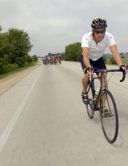 Lance Armstrong, out for a ride with journalists in Wisconsin June 1, 2007.
