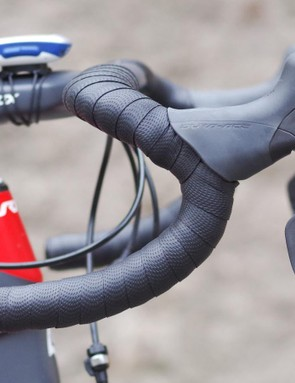 The bar bend creates an awkward bump with the levers positioned horizontally