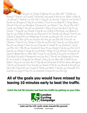 Arsenal Football Club appeals to fans to get on a bike