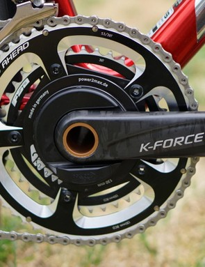 Aru uses Shimano Dura-Ace Di2 shifters and derailleurs with FSA cranks and rings, and a power2max power meter