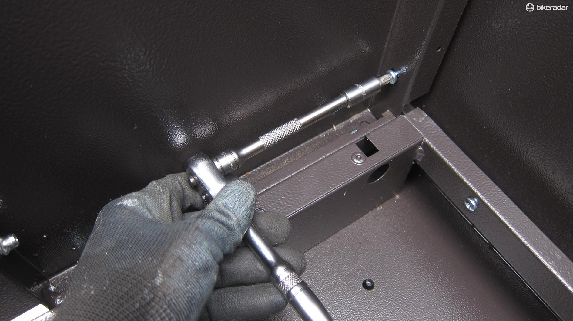 A few of the fasteners are tricky to get at and a ratchet makes life easier