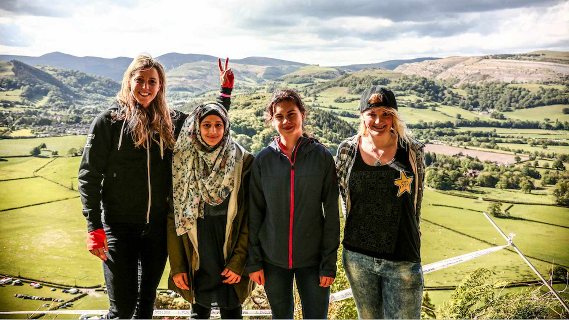 Rachel Atherton and some of the young women who make up the next generation of mountain bikers