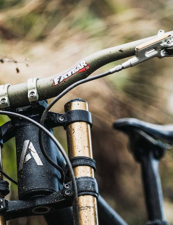 A sneak peek of the bike's head tube