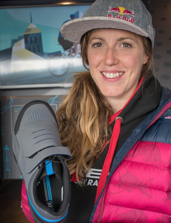 The new shoes were unveiled by multiple world champion Rachel Atherton at the Fort William World Cup