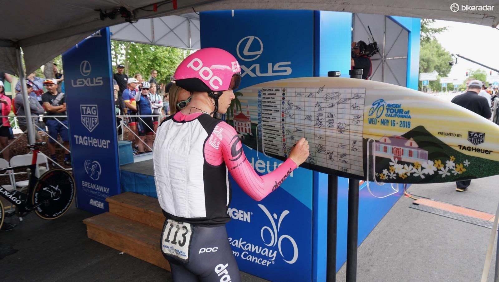 Lawson Craddock donned an ice vest before his 4th-place ride. And yes, sign in at the Amgen Tour of California is on a surf board