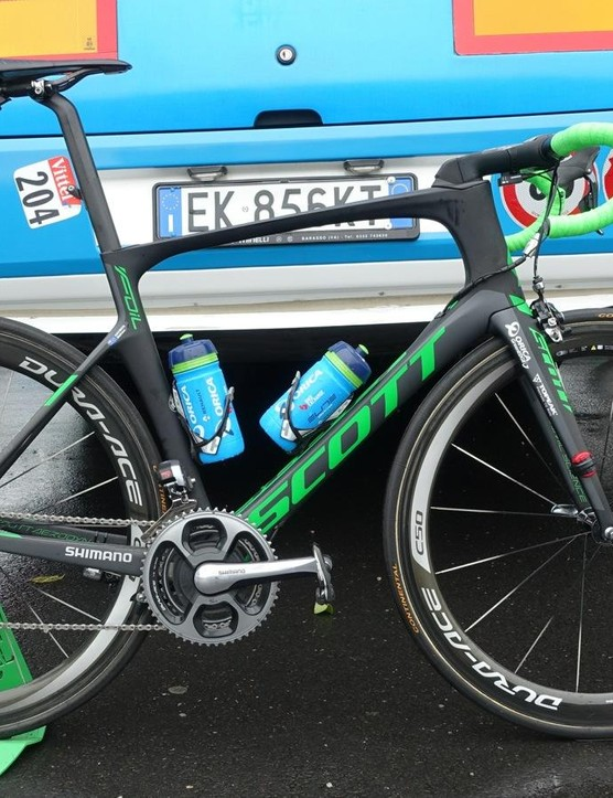 The Scott Foil aero bike Mathew Hayman used to win the 2016 Paris Roubaix is also what he's chose to ride for this year's Tour de France, albeit with a few alterations due to the lack of cobbles
