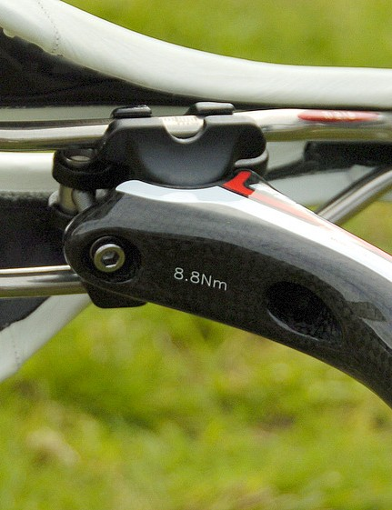 A two-bolt seatpost like the FSA K-Force lets you get your saddle angle exactly right