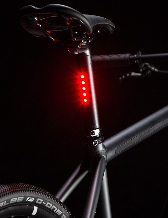 The LED taillight is built into the seatpost