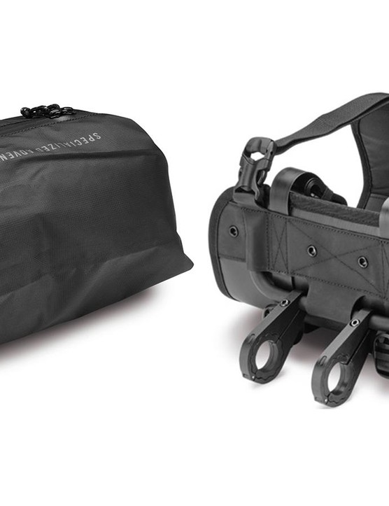 The Burra Burra Drypack and Handlebar Stabilizer Harness work together to carry gear on the front of your handlebar