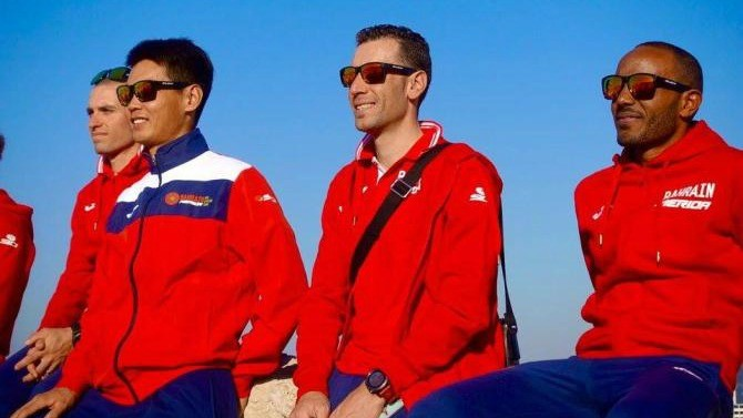 Veincenzo Nibali (centre) and his Bahrain-Merida teammates will begin their 2017 campaign in Argentina later this month