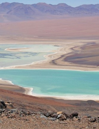 Contemplating the view of Lagunas Verde & Blanca in Chile