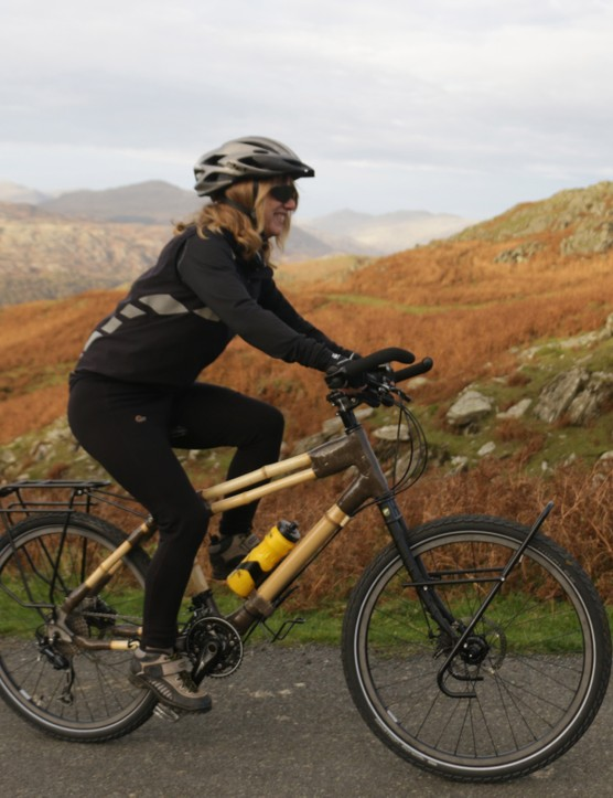 The bamboo frame is bedecked with luggage racks, and will be fully laden for most of the 5,000 mile journey