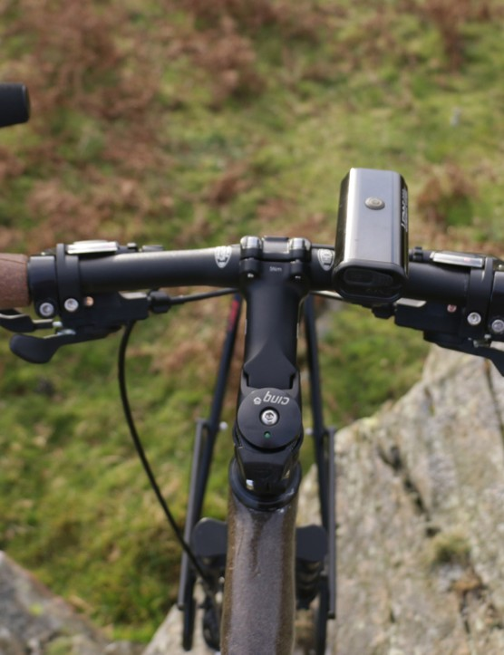 Rawles has added bar ends for comfort, and a USB socket powered by a hub dynamo to recharge lights and equipment on the go