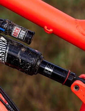 Banshee's KS Link suspension design delivers 160mm (6.3in) of travel, controlled by a RockShox Monarch Plus